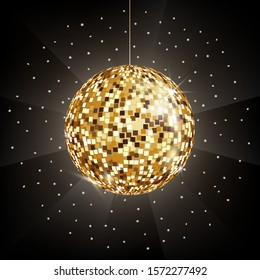 Vector icon of golden Disco or mirror ball on black background. Glitter ball for dance party, night club, symbol of fun. Light rays and reflection of mirror globe on dark backdrop. Gold decoration.