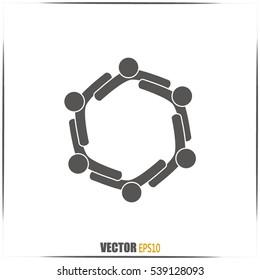 Vector Icon Graphic Teamwork Hug 6 -Group of People