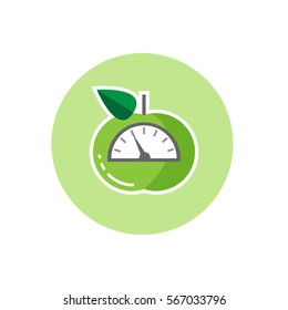 Vector icon of green apple with scales. Weight loss or diet concept , flat design