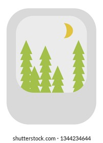Vector icon of a green forest at night