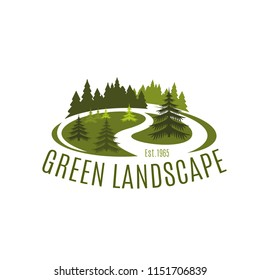 Vector icon for green landscape organization, concept of environment care and landscaping gardening. Creative badge with loan and fir-trees for lawn care service company