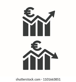Vector Icon growth and fall of the euro currency. On the financial chart, the arrow fluctuates the price and the Euro currency symbol.