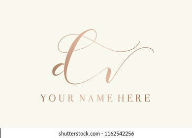 Vector icon with hand drawn  letter d and letter v.Signature style d&v monogram.Initials logo in rose gold color isolated on light background.Elegant, thin lettering with swashes and swirls.