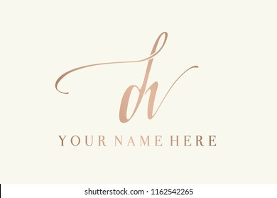 Vector icon with hand drawn  letter d and letter v.Signature style d&v monogram.Metallic rose gold color  initials logo.Elegant, thin lettering with decorative swashes and swirls.