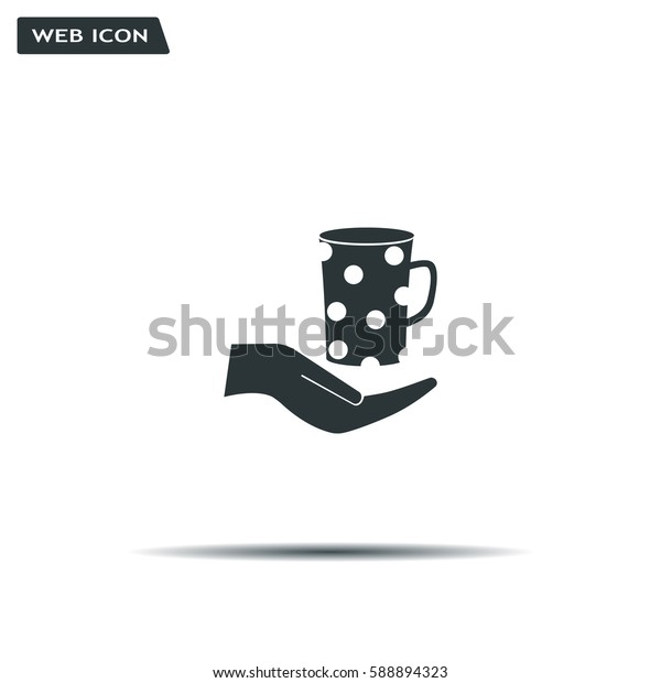 Vector icon hand hold coffee cup