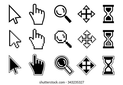 Vector icon hand, magnifier, cursor and hourglass on white background.