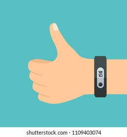 Vector Icon hand with sports bracelet. Hand with a thumb up. Fitness tracker gadget is black.