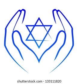 Vector icon -  hands holding star of David