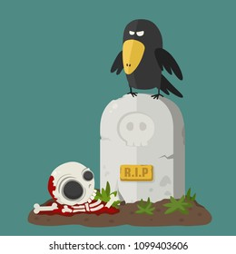 Vector Icon headstone with black crow (raven). Under the tombstone in the grave lies the skeleton and bones.