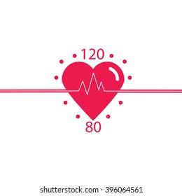 Vector icon of healthy heart, blood pressure, healthy pulse. Logo cardiology clinic.  Vector.