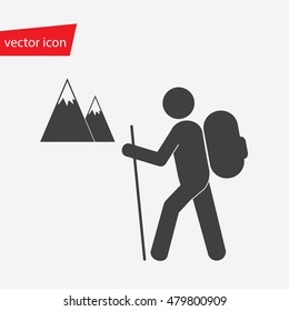Vector icon of hiker with backpack against the background of snowy mountains