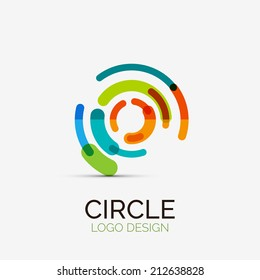 Vector icon, hi-tech circle company logo design, business symbol concept, minimal line style