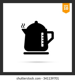 Vector icon of hot electric kettle silhouette