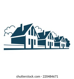 Vector icon of houses. Logo design template. Sign of real estate. Perspective view of street with group of cottages, trees, fences. Illustration for print, web
