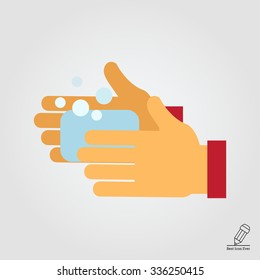 Vector icon of human hands being washed with soap