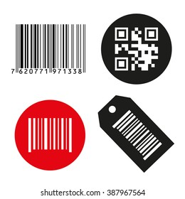 Vector icon illustration barcode. Button qrcode. isolated on white background.  qr code icon. bar code scanner