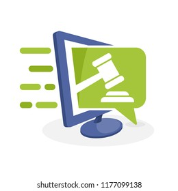 Vector icon illustration with the concept of digital communication, about the online bidding information system