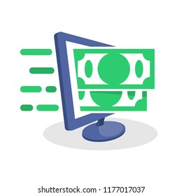 Vector icon illustration with digital media concepts about financial information, online money transfer transactions, online refund