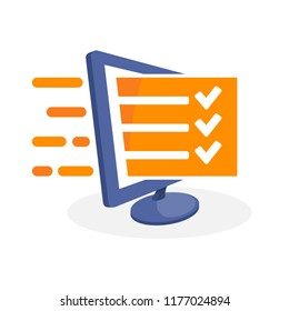 Vector icon illustration with digital media concepts about online exam, online evaluation, online survey