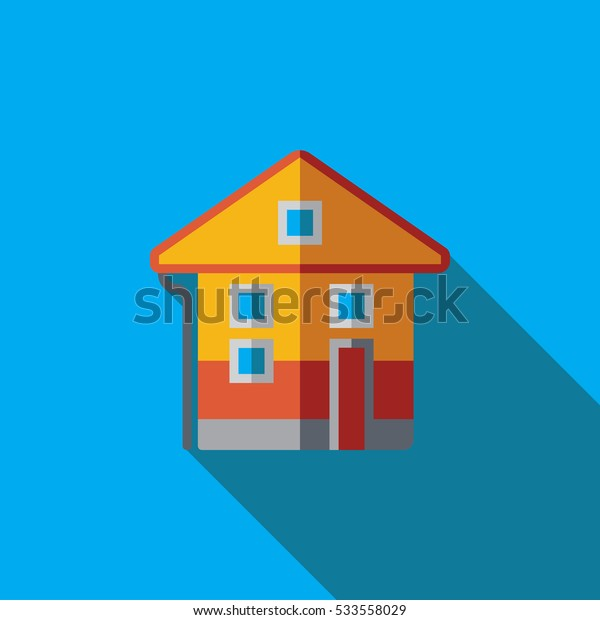 Vector icon or illustration with house in flat design style