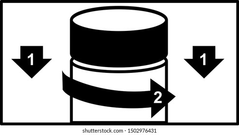 Vector icon illustration of instruction how to open a bottle with childproof cap. Push down turn cover on a medicine bottle with guided illustration on method to open the container cover