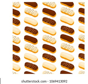 Vector icon illustration logo for cake French eclair with custard cream. Eclair pattern consisting of different colored sweet french dessert confection. Eat tasty cakes eclairs covered in glaze creams