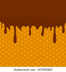 Vector icon illustration logo for falling drip chocolate on sweet waffles. Waffle pattern consisting of bubble different dessert confectionery, drop fresh cream to wafer. Eat tasty patisserie waffle.