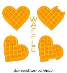 Vector icon illustration logo for set various sweet waffles. Waffle pattern consisting of slice different dessert confectionery, fresh wafer with milk. Eat tasty patisserie waffle covered in milks.