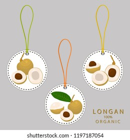 Vector icon illustration logo for whole ripe fruit yellow longan, slice half dimocarpus. Longan pattern consisting of natural design tropical tasty food. Eat sweet fresh raw fruits exotic longan.