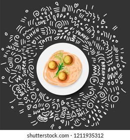 Vector Icon illustration of Pasta in Plate. Italian Pasta with with greens and meatballs in white plate. Plate of Spaghetti and meatballs, cartoon on black background with doodle decoration around