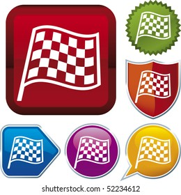 Vector icon illustration of racing flag over diverse buttons. Only global colors. CMYK. Easy color and proportions changes.