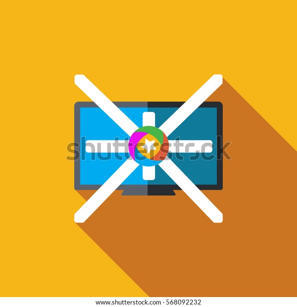 Vector icon or illustration showing tv in flat design style
