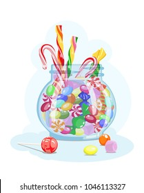 Vector icon with image caramel, marshmallow, lollipop, candy in glass jar on blue background. Candy store. Treat for children and adults.