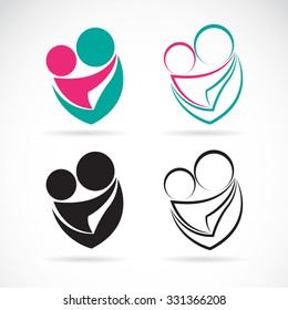 Vector icon image of a mom and baby on white background, Expression of love.