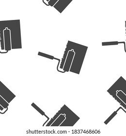 Vector icon image Paint roller seamless pattern on a white background.