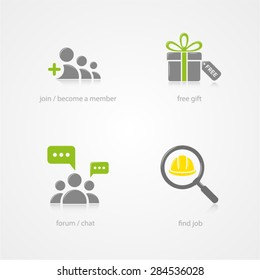 vector icon join become a member free gift forum chat find job collection