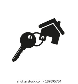 Vector icon Key icon from the house, vector illustration. Flat design style