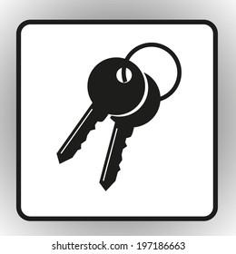 Vector icon Key icon, vector illustration. Flat design style