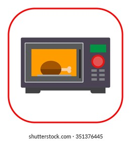 Vector icon of kitchen microwave oven with meat piece inside