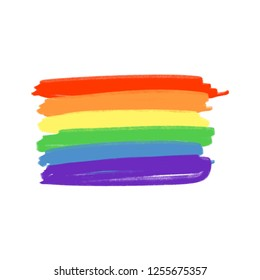 Vector icon LGBT flag. Hand drawn colors of the rainbow. Freedom concept.