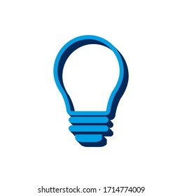 Vector icon light bulb isometric. 3d  sign isolated on white background.