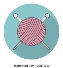 Vector icon logo ball of yarn with a shadow. Yarn icon. Handmade.