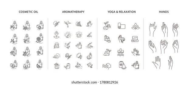Vector icon and logo collection for natural cosmetics oil care dry skin, aromatherapy, yoga or relaxation and hands symbol. Editable outline stroke size. Line flat contour, thin and linear design