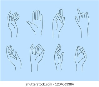 Vector icon and logo female beauty hand. Editable outline stroke size. Line flat contour, thin and linear design. Simple icons. Concept illustration. Sign, symbol, element.