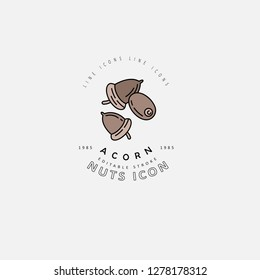 Vector icon and logo for nuts and seeds. Editable outline stroke size. Line flat contour, thin and linear design. Simple icons. Concept illustration. Sign, symbol, element.