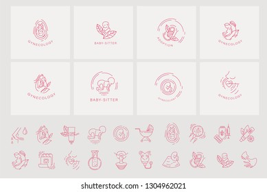 Vector icon and logo for pegnancy and gynecology. Editable outline stroke size. Line flat contour, thin and linear design for adoption and babysitter. Simple icons. Concept illustration. Sign, symbol