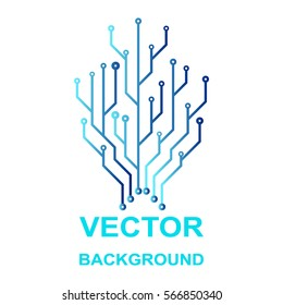 Vector icon with logo printed circuit board. Flat design style.