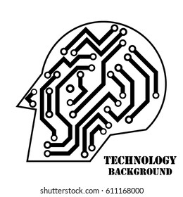 Vector icon with logo printed circuit board. Flat design style. Technological head