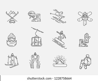 Vector icon and logo for snowboarding and skiing or other winter sports. Editable outline stroke size. Line flat contour, thin and linear design. Simple icons. Concept illustration. Sign, symbol