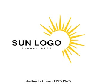 Vector Icon Logo Template Sun over horizon